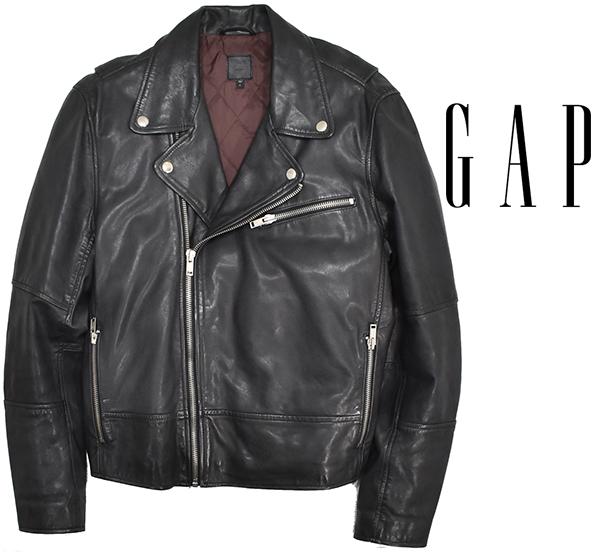 定価¥54,000 ギャップ GAP 羊革 ラムレザー バイカージャケット/ダブルライダース 中綿入り 黒/Lサイズ