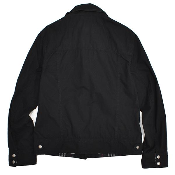 バーバリーブラックレーベル 【BURBERRY BLACK LABEL】 裏地チェック ジップコットンシャツジャケット/黒 Mサイズ_画像3