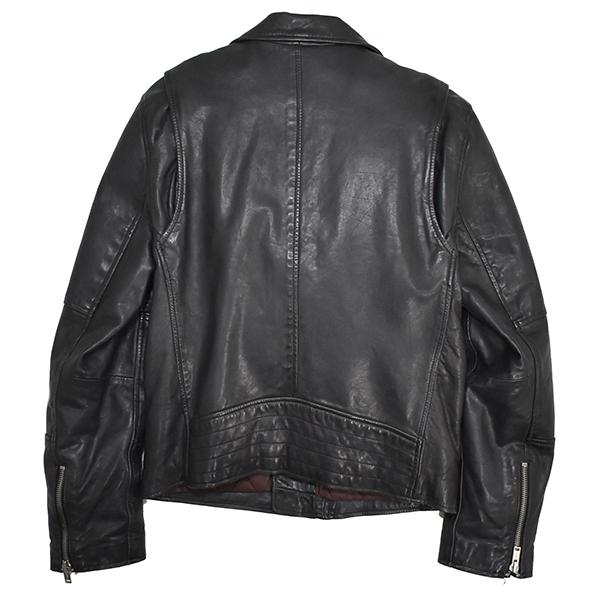 定価¥54,000 ギャップ GAP 羊革 ラムレザー バイカージャケット/ダブルライダース 中綿入り 黒/Lサイズ_画像3