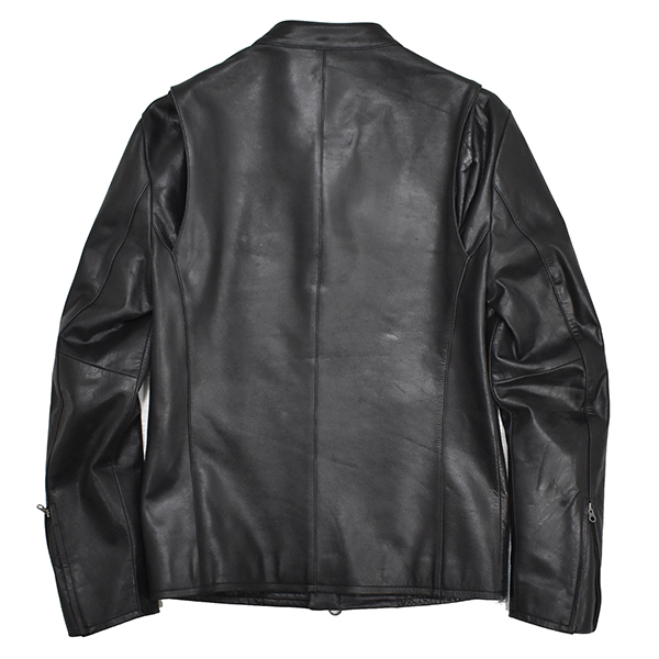 定価48,600円 ジェンナロ【GENNARO】牛革 バッファローレザー シングルライダースジャケット 黒 Mサイズ_画像2
