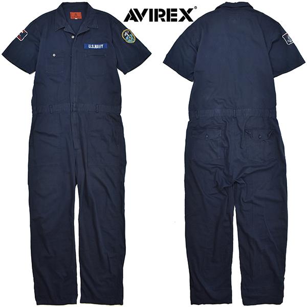 アヴィレックス 【AVIREX】 ワッペン 半袖つなぎ/ジャンプスーツ/オールインワン 紺/L