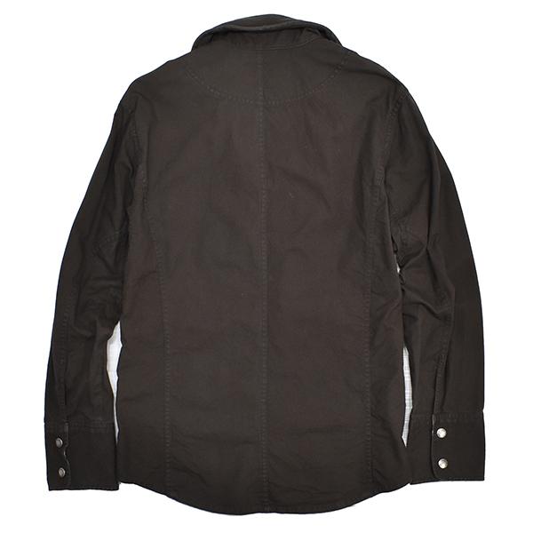 バーバリーブラックレーベル 【BURBERRY BLACK LABEL】 裏地チェック コットンシャツジャケット/茶 L_画像2