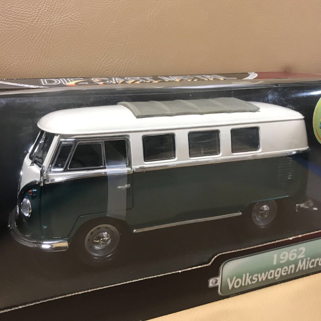 1962 Volkswagen Microbus フォルクスワーゲン マイクロバス 1/18 Yat Ming ミニカー GM Ford ダイキャストメタル&プラ グリーンカラー新品_画像1
