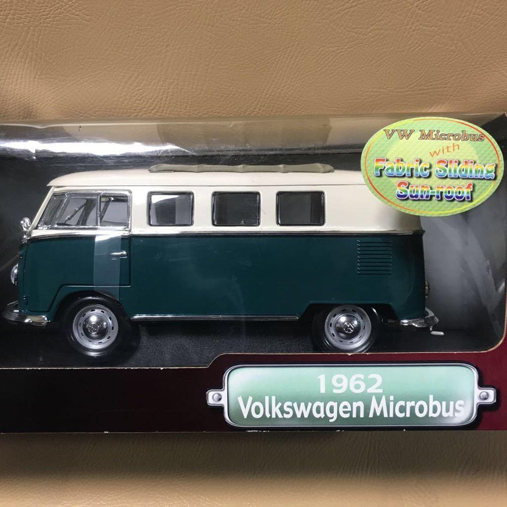 1962 Volkswagen Microbus フォルクスワーゲン マイクロバス 1/18 Yat Ming ミニカー GM Ford ダイキャストメタル&プラ グリーンカラー新品_画像2