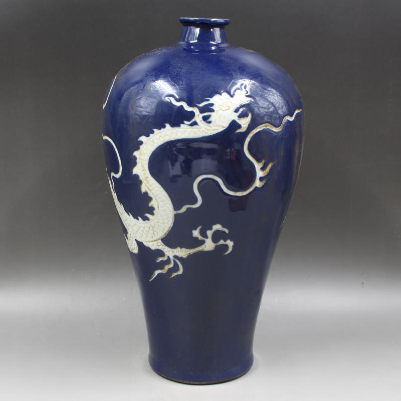 極珍 彫刻 雲竜紋 梅瓶 収蔵品 骨董品 時代物_画像3