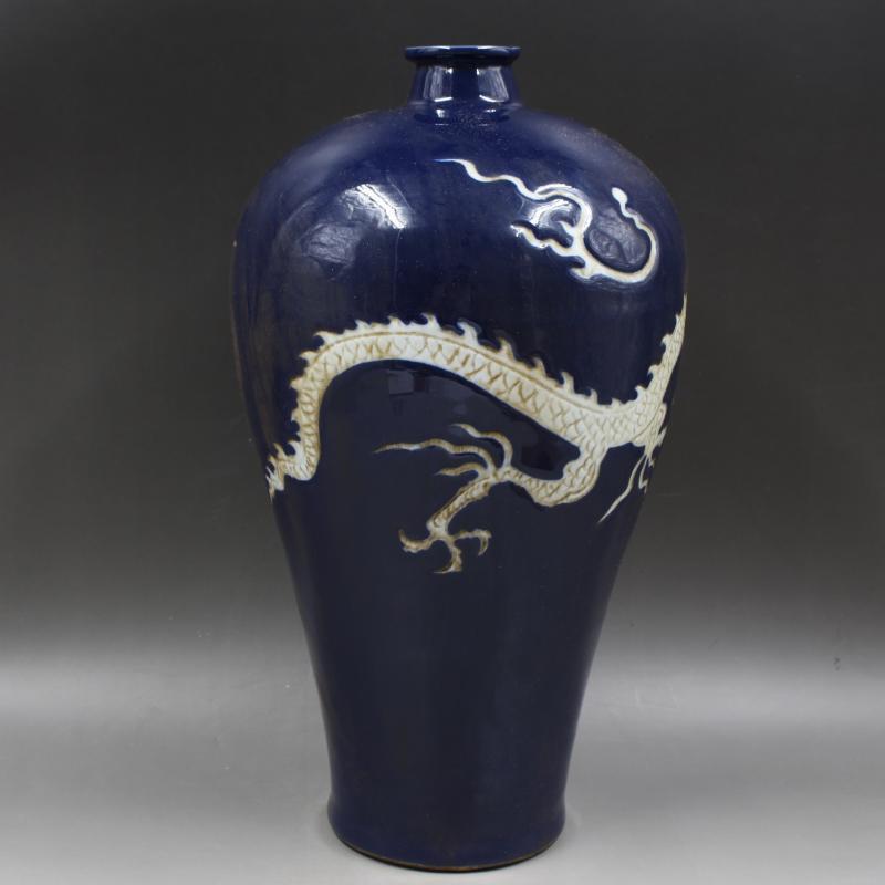 極珍 彫刻 雲竜紋 梅瓶 収蔵品 骨董品 時代物_画像2
