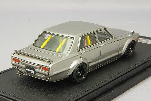 イグニッションモデル 1/43 日産 スカイライン 2000 GT-R PGC10 セミワークス ガンメタリック IG0648 / ハコスカ 4ドア_画像3