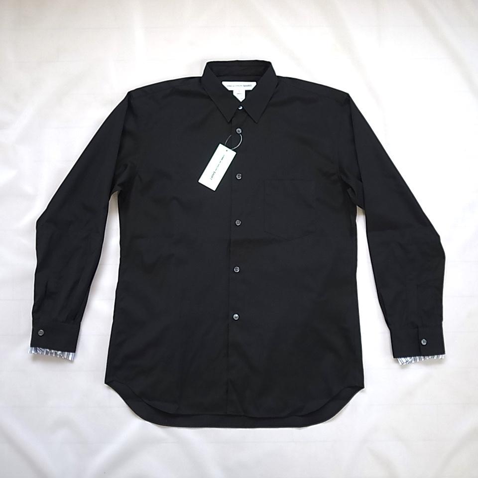 COMME des GARCONS SHIRT 袖口ストライプ ブラック シャツ sizeS_画像3