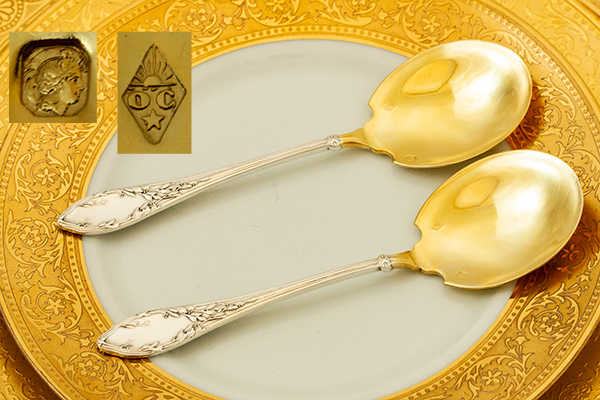 ネオ・クラシック デザートスプーンx2 銀無垢金鍍金【t59】フランス・アンティーク・カトラリー_画像2