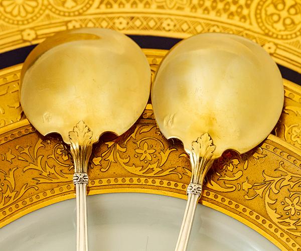 ネオ・クラシック デザートスプーンx2 銀無垢金鍍金【t59】フランス・アンティーク・カトラリー_画像7