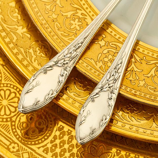 ネオ・クラシック デザートスプーンx2 銀無垢金鍍金【t59】フランス・アンティーク・カトラリー_画像3