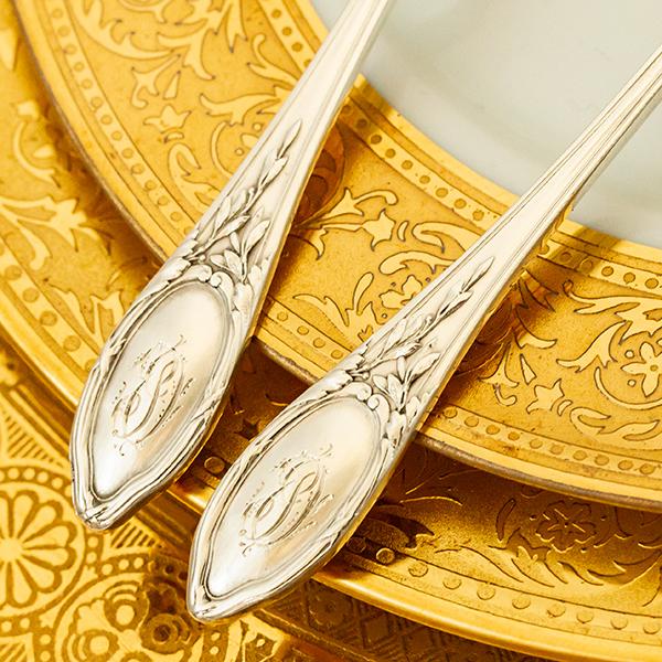 ネオ・クラシック デザートスプーンx2 銀無垢金鍍金【t59】フランス・アンティーク・カトラリー_画像6