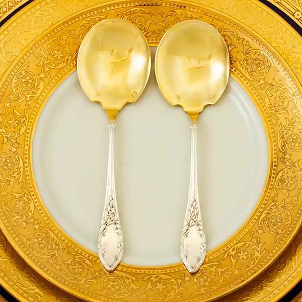 ネオ・クラシック デザートスプーンx2 銀無垢金鍍金【t59】フランス・アンティーク・カトラリー