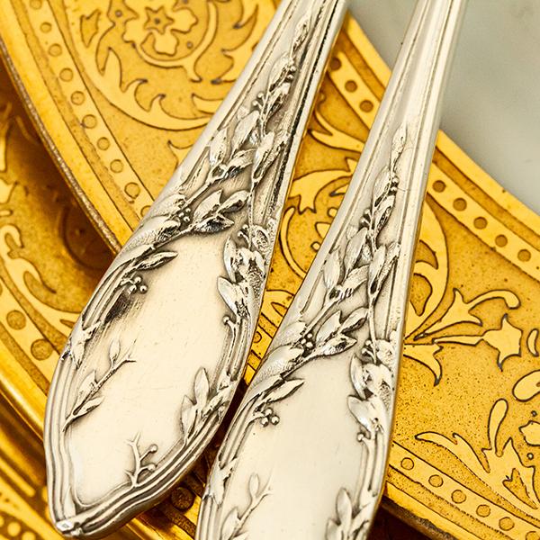 ネオ・クラシック デザートスプーンx2 銀無垢金鍍金【t59】フランス・アンティーク・カトラリー_画像8
