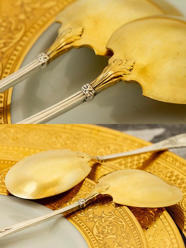 ネオ・クラシック デザートスプーンx2 銀無垢金鍍金【t59】フランス・アンティーク・カトラリー_画像9