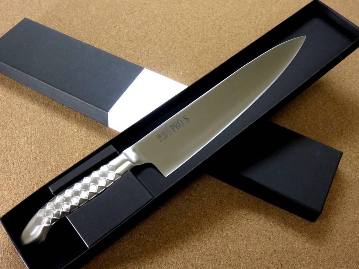 関の刃物 牛刀 24cm (240mm) PRO-S モリブデンスチール 1K-6 鍔付一体型包丁 家庭用の洋包丁 肉 魚 野菜切り パン切り 両刃万能包丁 日本製_画像10