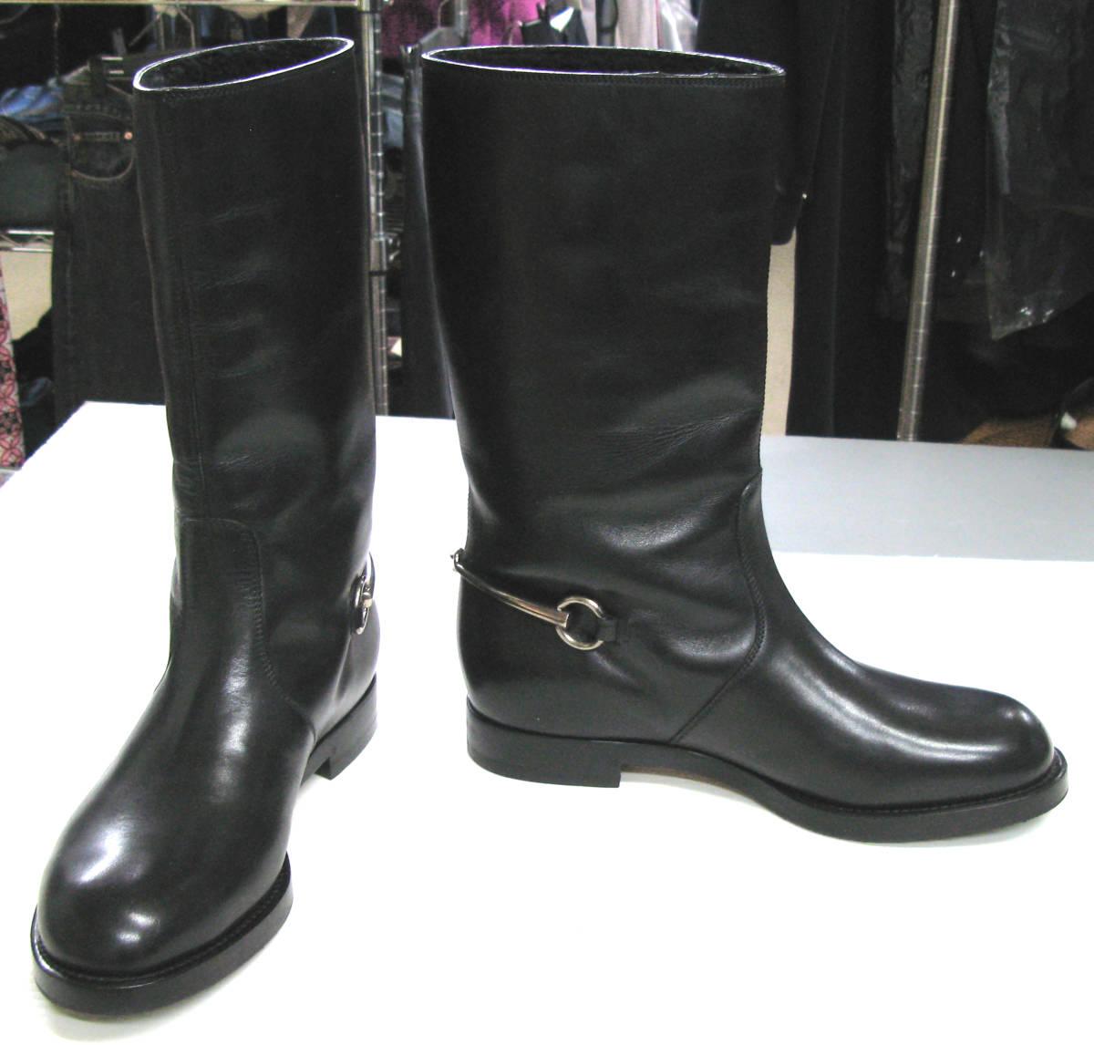 グッチ GUCCI*レザー ロング ブーツ 美品 7.5 ( 革靴 シューズ leather boots_画像1