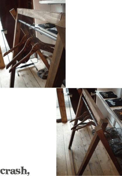 数量限定 FDG 木製 アイアン ハンガーラック 折りたたみ 収納 家具 什器 ディスプレイラック シンプル インダストリアル_画像2