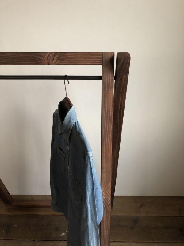 数量限定 FDG 木製 アイアン ハンガーラック 折りたたみ 収納 家具 什器 ディスプレイラック シンプル インダストリアル_画像6