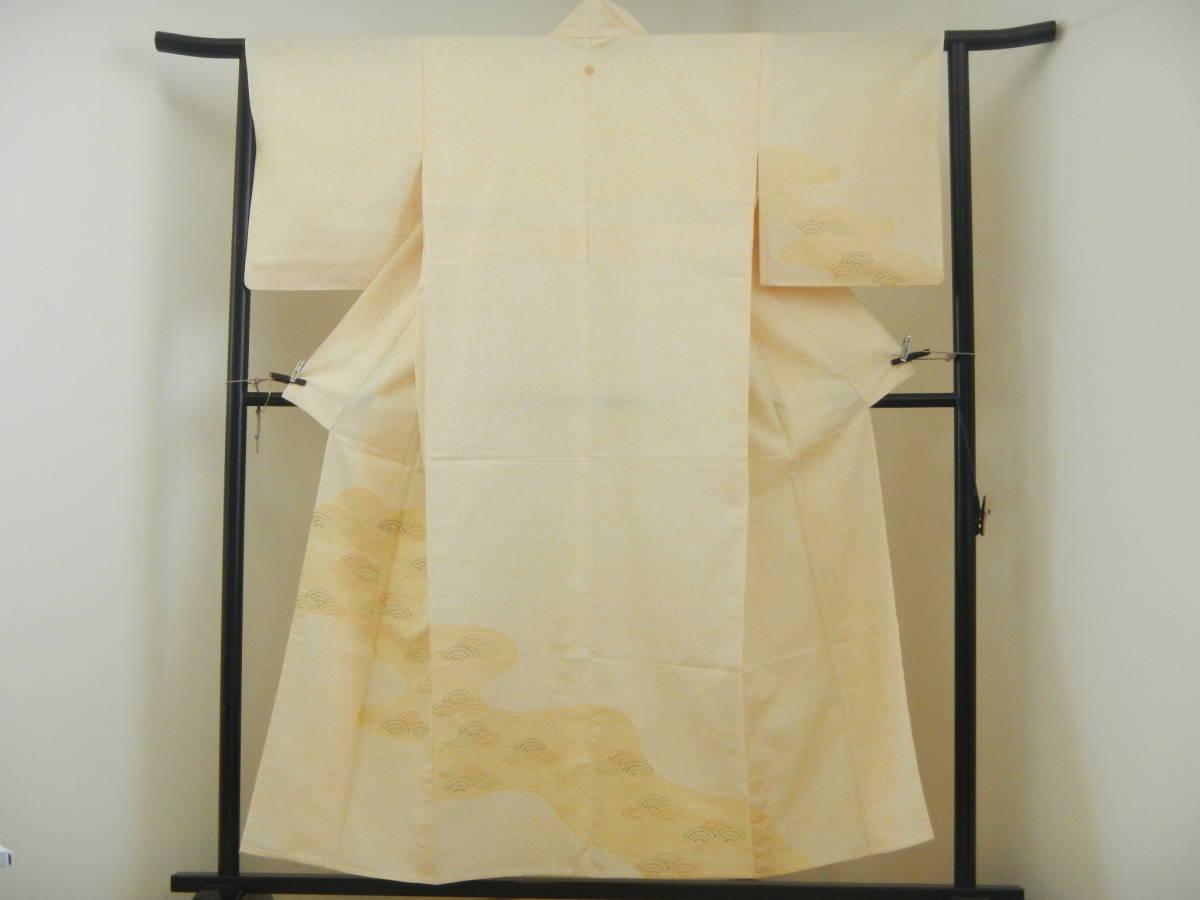 <銀の斧>正絹・紬地相良刺繍訪問着・糊吹染・春の紬・牛首紬・白山紬_画像1