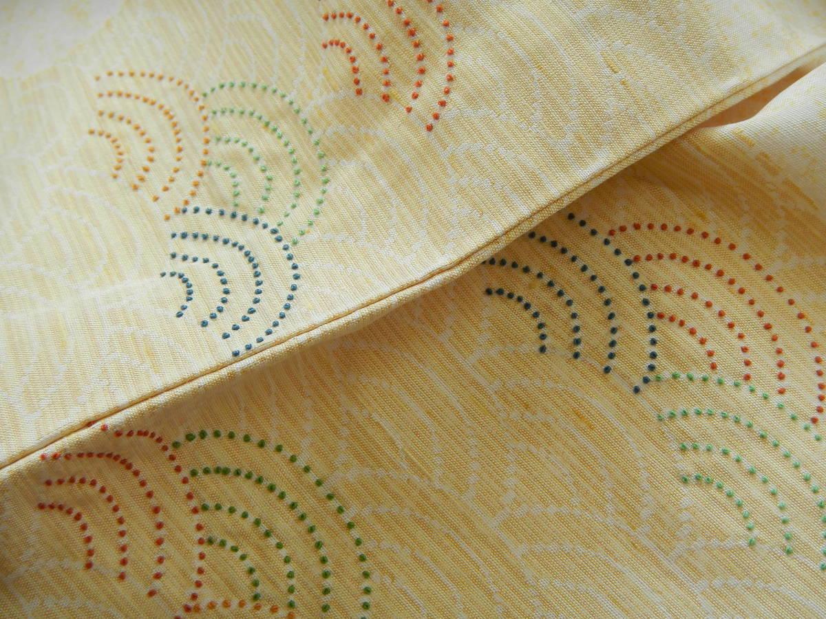 <銀の斧>正絹・紬地相良刺繍訪問着・糊吹染・春の紬・牛首紬・白山紬_画像2