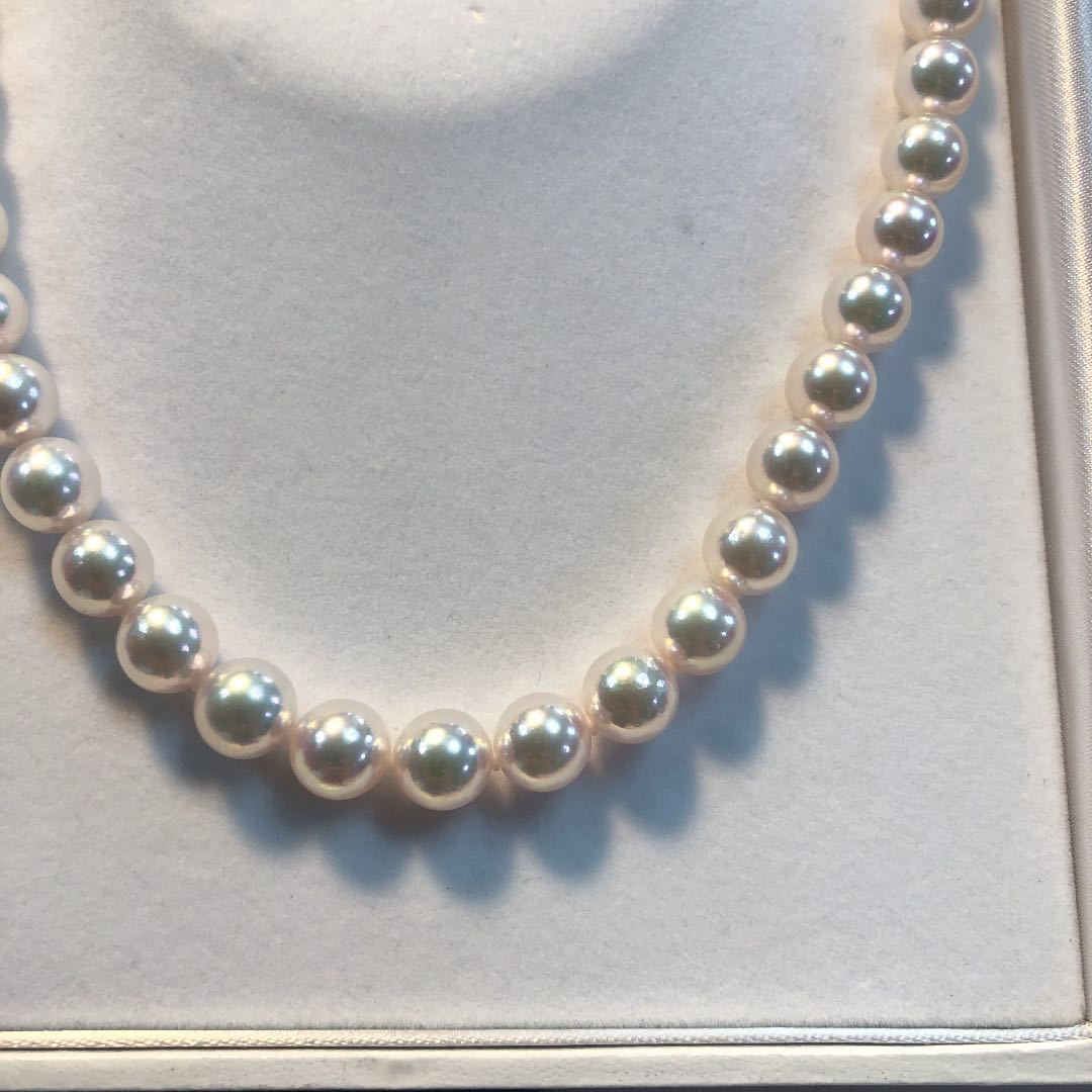 オーロラ天女 9.5mm~9mm 真珠科学研究所の鑑別つき 新品 未使用 送料込み まき厚0.75ミ