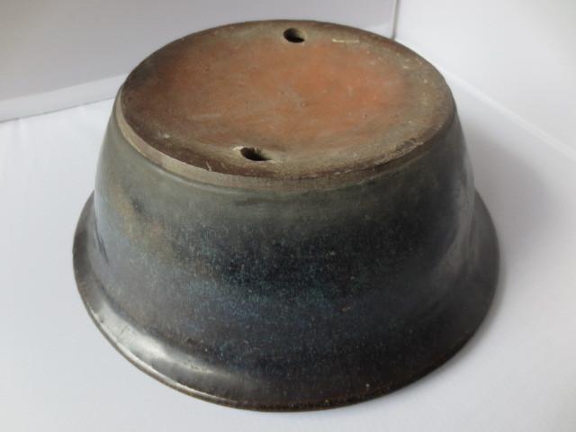 【艸】 唐物 海鼠釉 花盆 28.5センチ ナマコ 盆栽鉢 中国古玩 24may2