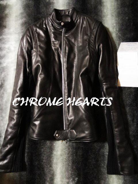 【衝撃の肉厚NEWモデル】 クロムハーツ CHROME HEARTS ニューレーサーライダースジャケット 22k 国内正規品 VJ Lサイズ