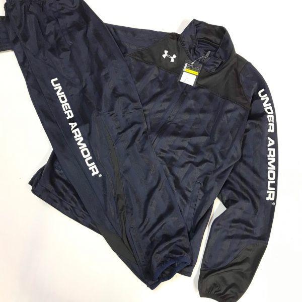 アンダーアーマー UNDER ARMOR ウォームアップジャケットパンツ 上下セット 紺/黒白 M  MSC3903/3904