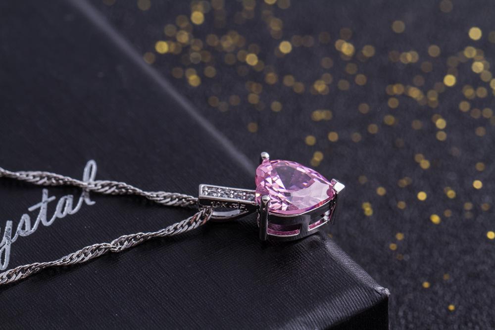 即決 厳選 極上 逸品 極大粒 ハートピンク CZダイヤモンド キュービックジルコニア ペンダント 3ct プラチナ仕上 ネックレス シルバー925_画像3