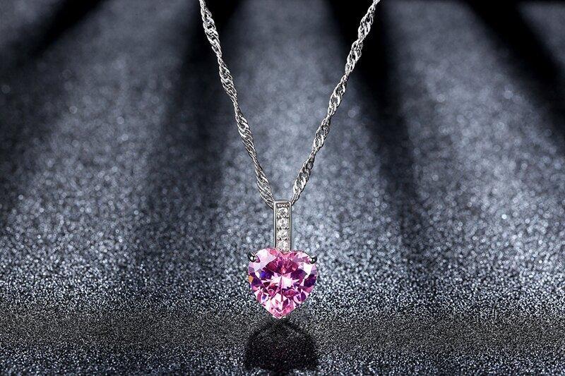 即決 厳選 極上 逸品 極大粒 ハートピンク CZダイヤモンド キュービックジルコニア ペンダント 3ct プラチナ仕上 ネックレス シルバー925_画像4