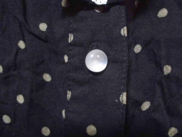mk785 Joky gal ドット柄 ショールカラー 七分袖ブラウス 黒×ベージュ レーヨン100% リボンタイ付き 袖口裾ゴムシャーリング L_画像7