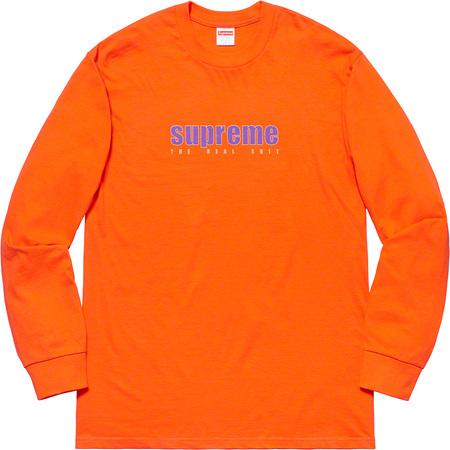 即決 supreme 19ss the real shit l/s tee light orange M