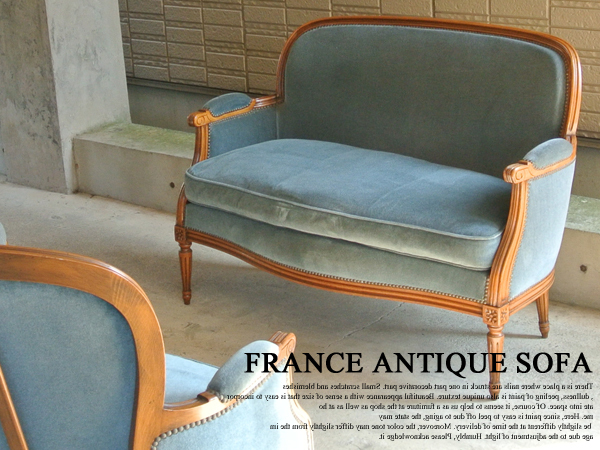 フランス アンティーク2シーターソファ ロココ 2人掛けソファ サロンチェア 店舗什器 クッションチェア
