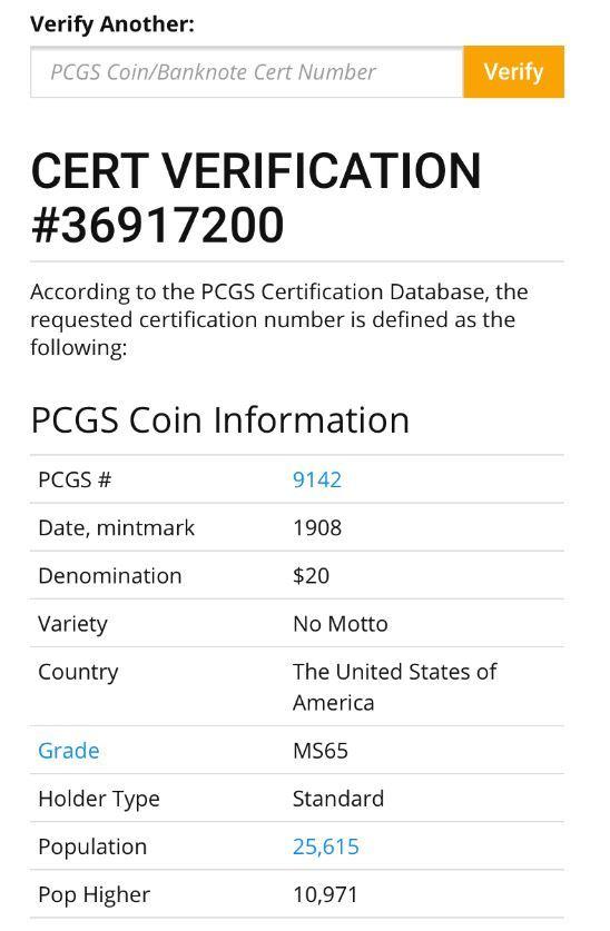 アンティークコイン アメリカ20ドル金貨セントゴーデンズ1908 ノーモットー MS-65 PCGS_画像7