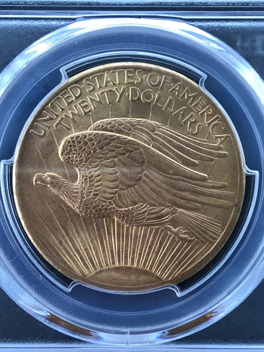 アンティークコイン アメリカ20ドル金貨セントゴーデンズ1908 ノーモットー MS-65 PCGS_画像6