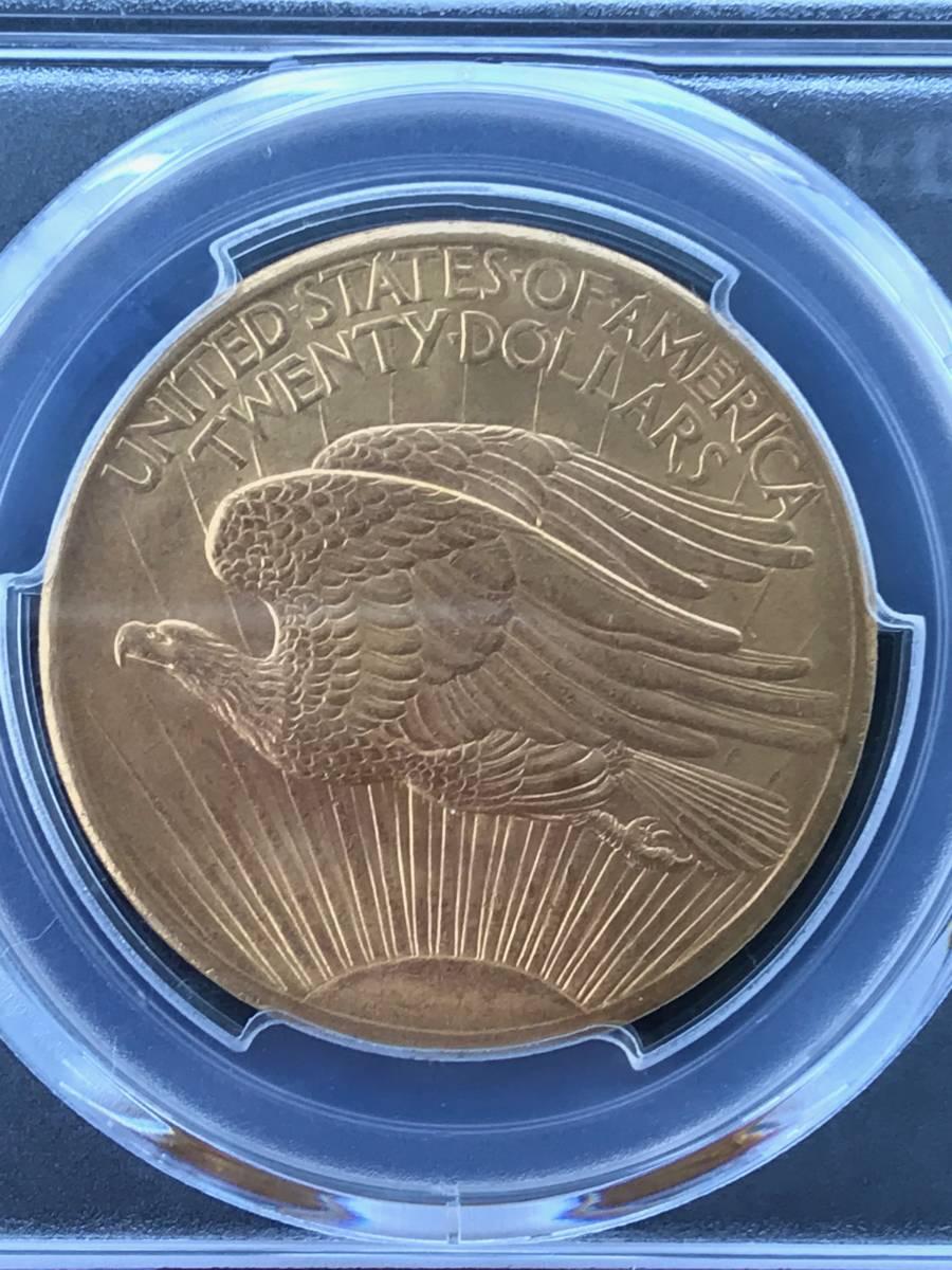 アンティークコイン アメリカ20ドル金貨セントゴーデンズ1908 ノーモットー MS-65 PCGS_画像5