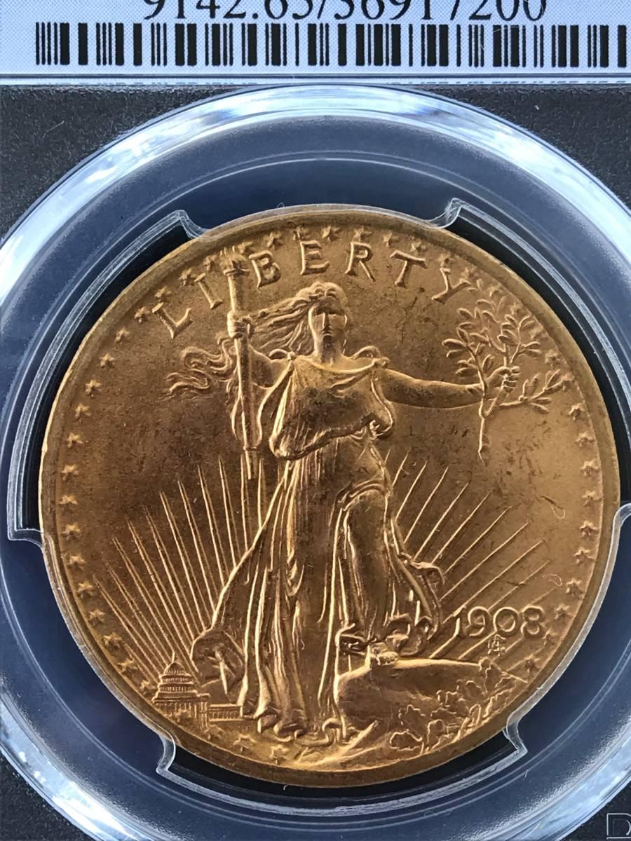 アンティークコイン アメリカ20ドル金貨セントゴーデンズ1908 ノーモットー MS-65 PCGS_画像2