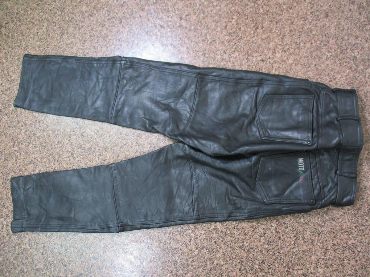 【中古】厚手のレザーパンツ 重量約1kg ウエスト約62cm Sサイズ W29インチ 黒/ブラック 革パンツ 本革製 極厚 ライダース_画像7