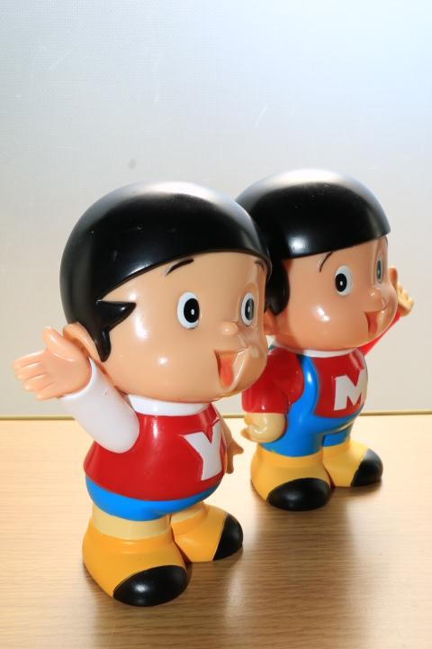 当時物 ペコちゃん 首ふり人形 不二家 と ヤン坊マー坊人形 ヤンマー 3体セット_画像10