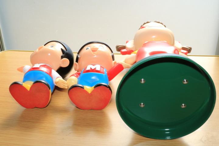 当時物 ペコちゃん 首ふり人形 不二家 と ヤン坊マー坊人形 ヤンマー 3体セット_画像2