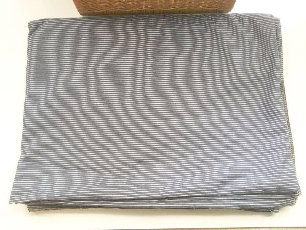 【無印良品】掛ふとんカバー・シングルサイズ・中古・洗練オーガニックコットンデニム綿100%・ブルーストライプ・掛け布団カバー・MUJI_画像2