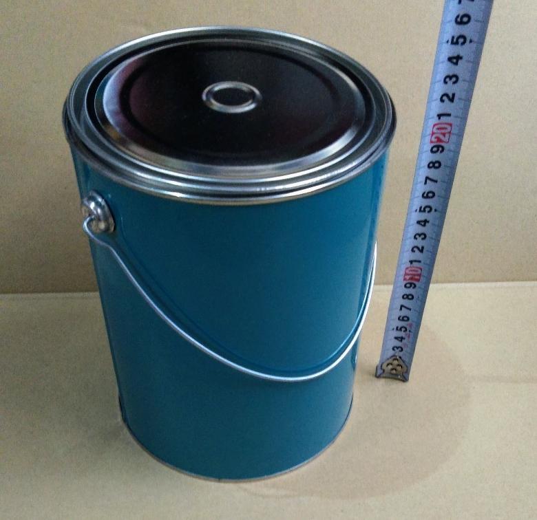 各種小分け 詰め替え保存容器 ブリキ空缶 4L/4000ml 丸缶 ダブルふた 青ベタ_画像1