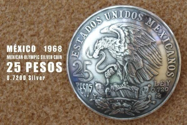 ◆大型 コンチョ ネジ式 メキシコ 25ペソ 銀貨 イーグル シルバー 37mm_画像1