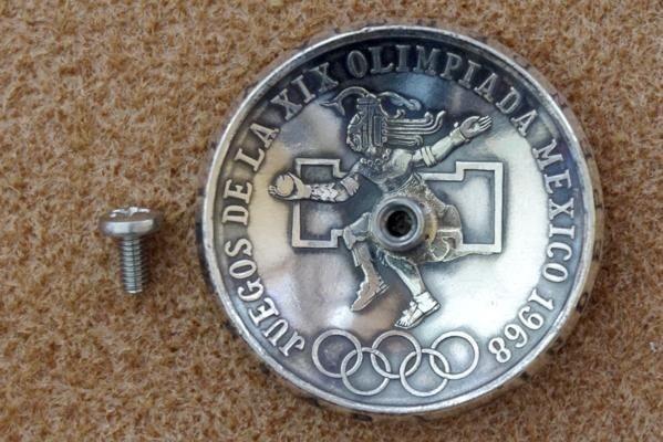 ◆大型 コンチョ ネジ式 メキシコ 25ペソ 銀貨 イーグル シルバー 37mm_画像2
