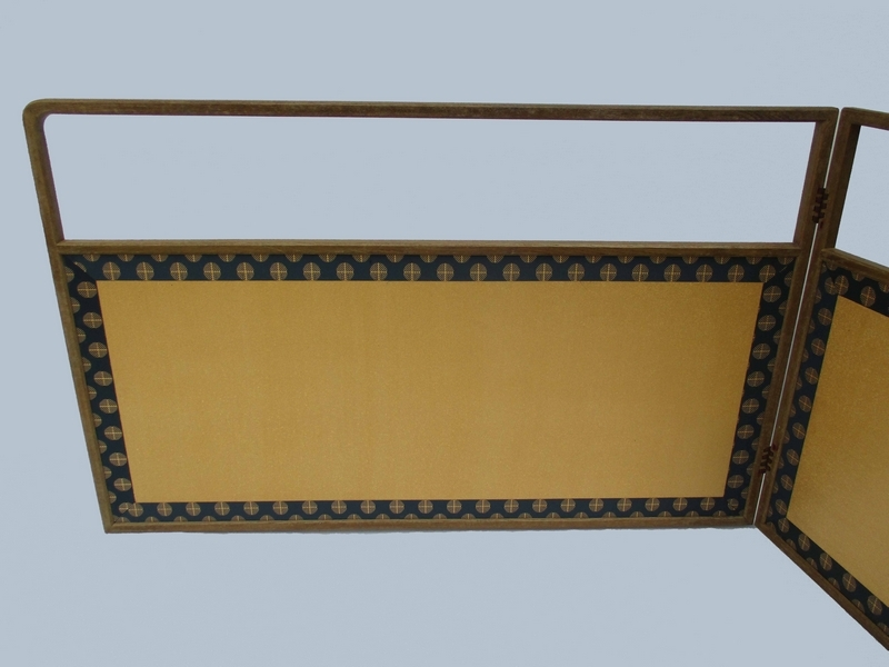 ■茶道具 腰風炉先屏風 唐松 ■ 金 銀モミ 屏風 h約55cm 紙箱№4575■_裏は銀です。