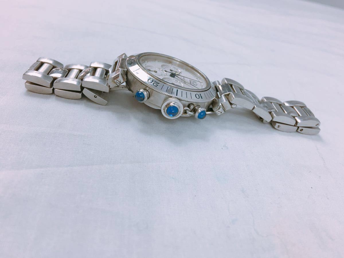 S88 1円~ Cartier カルティエ パシャ クロノグラフ メンズ 自動巻 腕時計 ホワイト文字盤 可動品_画像3