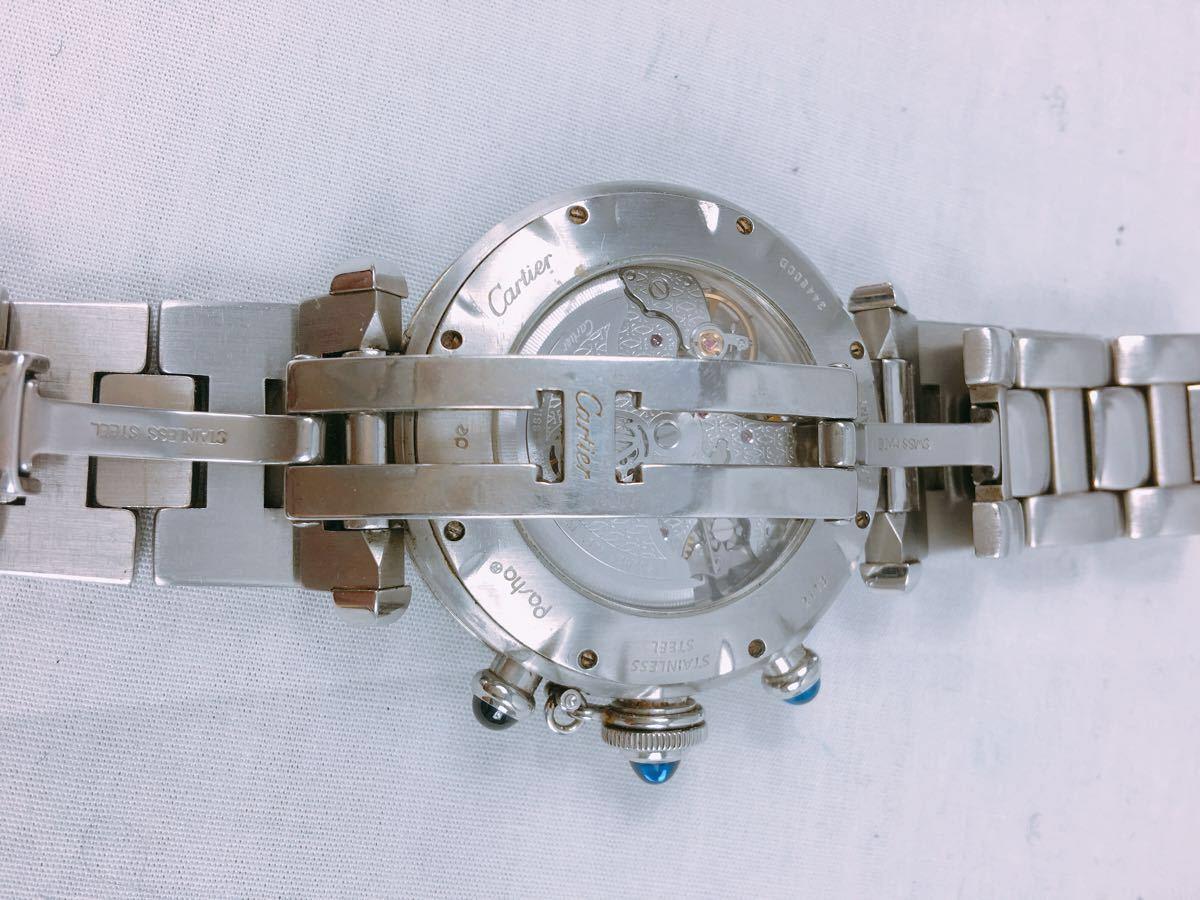 S88 1円~ Cartier カルティエ パシャ クロノグラフ メンズ 自動巻 腕時計 ホワイト文字盤 可動品_画像4