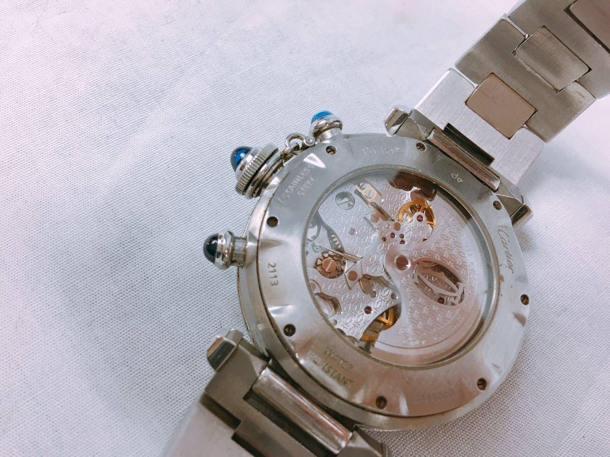 S88 1円~ Cartier カルティエ パシャ クロノグラフ メンズ 自動巻 腕時計 ホワイト文字盤 可動品_画像5