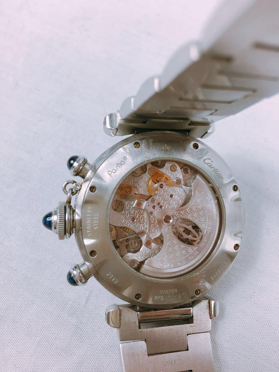 S88 1円~ Cartier カルティエ パシャ クロノグラフ メンズ 自動巻 腕時計 ホワイト文字盤 可動品_画像2